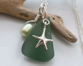 Starfish Bliss. Deep Teal Blue Seaglass Necklace with Sterling Silver Starfish Charm
