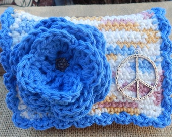 HALF PRICE CLEARANCE  ~  Crocheted Purse  ~  Blue and Variegated with Silver Peace Sign Crocheted Cotton Little Bit Purse