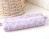 Purple and White Floral Cute Pencil Case Boxy Pouch Purple Zipper Pouch