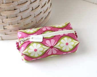 Small Boxy Pouch Pink and Green Coin Purse Floral Change Purse Credit Card Holder