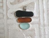 Sea Glass Pendant - Darkest Olive, Amber and SeafoamPendant