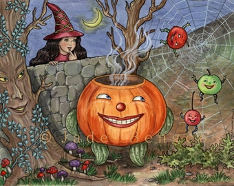 HALLOWEEN FROLIC Limited Edition Art Print Jack-O-Lantern Witch Fruit Goblins