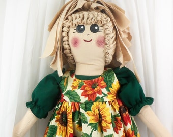 Plastic Bag Holder Doll, Large Sunflowers, Grocery Bag Holder, Kitchen Storage, Recycle, Rustic Kitchen, Primitive Doll, Sunflower Fabric