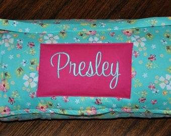 Nap Mat - Monogrammed Little Miss Shabby Prairie Nap Mat with Hot Pink Minky Dot Blanket