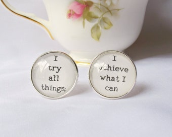 Moby Dick Cuff Links Quote Cufflinks I Try All Things I Achieve What I Can. Geekery Wedding Groom Typography. Literature Two Cheeky Monkeys