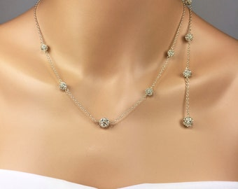 Long Backdrop Necklace Extension Rhinestone Necklace Extension Bridal Necklace Camryn
