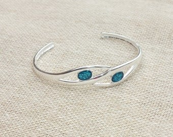 Ladies Hand Finished Sterling Silver Bangle Bracelet Turquoise Sparkle Resin Colour