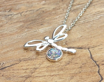 Silver Plated Dragonfly Shape Pendant Setting Multicoloured Glitter Sparkle Resin Necklace Blue Gold and Pink