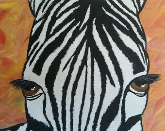 Face of Zebra Painting on Canvas Signed G. Patchelli, 2015