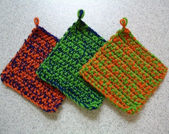 Set of 3 Multi Colored Hand Crocheted Potholders - Kitchen Decor - Free Shipping