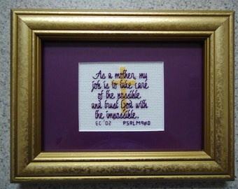 As a Mother - Purple - Inspirational Cross Stitch Picture - Wall Decor