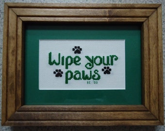 Green Wipe Your Paws - Cross Stitch Picture - Wall Art
