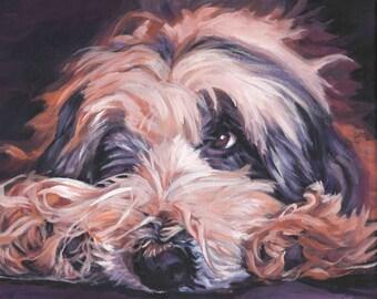Bearded collie dog art portrait CANVAS print of LA Shepard painting 8x10