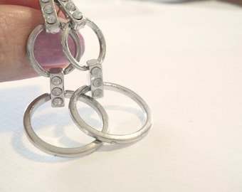 Silver Hoop Earrings Circle Rhinestone Earrings Geometric Earrings