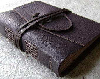 "Leather journal, rustic dark brown, 4"" x 6"", handmade journal by Dancing Grey Studio(1996)"