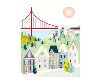 San Francisco Print, San Francisco Prints Posters Wall Art, Golden Gate Prints Wall Art, Cityscape Poster, Wall Decor, Gift. Style: SFGGPP1