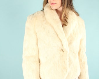 Vintage 80s Ivory White Rabbit Fur Jacket Coat ~ Medium