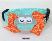 Minty Owl Dog Collar Size XS through Large by Doogie Couture Pet Boutique