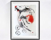 Watercolor Print Lyrical Abstract artwork black white red grey art Modern abstract painting abstract artwork Black painting painting red