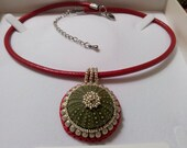 Sea Urchin Necklace Red Leather Cord