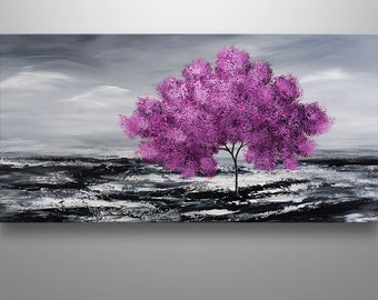 Abstract Painting, Tree Painting, Original Painting, Landscape Painting, Pink Tree, Abstract Wall art, Wall Decor, Large Abstract painting