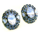 Large Light Blue Givre Glass Clip Earrings