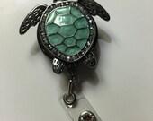Teal Sea Turtle badge holder