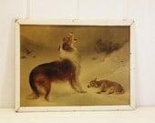 "Vintage Dog and Lamb Print Framed ""Found"" Print W.B. Hunt"