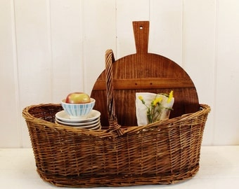 Vintage Wicker Basket Large Market Basket