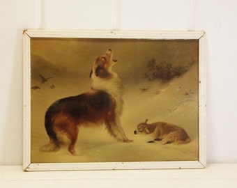 "Vintage Dog and Lamb Print Framed ""Found"" Print W.B. Hunt"