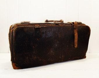 Vintage Leather Satchel, Brown Leather Bag, Storage Bag, Office Organization, Photo Prop