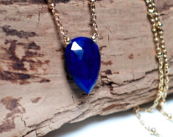 Lapis Lazuli Necklace | Royal Blue Inverted Teardrop Briolette | 14k Gold Filled or Sterling Silver Chain | Sapphire Heart | Made to Order