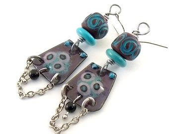 Turquoise and Plum Enameled Chandelier Earrings, Silver Earrings, Plum Flower, Artisan Earrings, Boho Earrings, Antique Silver - AE189