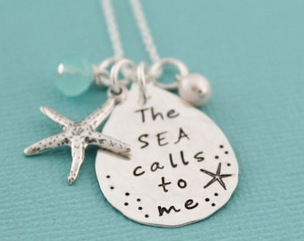 The Sea Calls To Me Necklace Starfish Jewelry Hand Stamped Necklace Beach Vacation Jewelry Cruise Beachwear Necklace