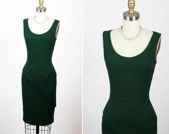 FENDI Made in Italy Forest Green Hourglass Asymmetrical Dress XS