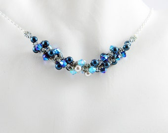 "Magical Blue Swarovski Crystal and Pearl Necklace Beadweaving Sterling Silver -  ""Ocean's Lane"""