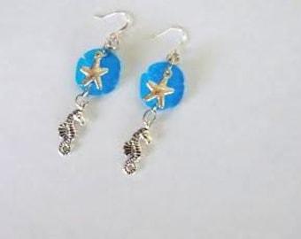 Sea Glass Aqua Blue Sand Dollar, Starfish and Seahorse Dangle Earrings, Beach Earrings, Beach Wear