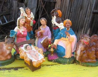 Vintage Nativity Creche Figures Made in Italy set of 8