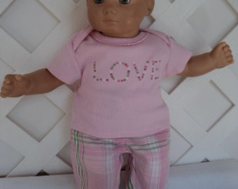 Doll Clothes,  Bitty Baby Girl  Sweet Pink   3 pc  Pants outfit  with headband