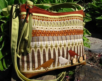 Three Birds Tote/ /Waxed Canvas and Tapestry/ Appliqued Ultra Suede Birds/ 2 Large  Zipper pockets