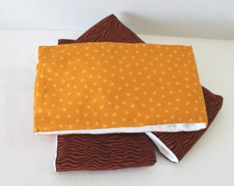 Set of 3 of Baby Burp Cloths Brown and Gold Baby Shower Gift