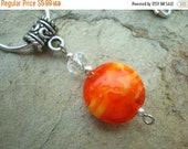 25%OFF Orange Glass Bead Pendant with Silver Accent Beads comes with 17 inch snake chain (N-201)