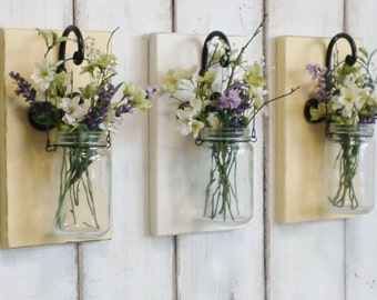 New...Rustic County Hanging Jar Wall Decor..Chic Farmhouse.. Individual Hanging jars...Your Choice of colors..