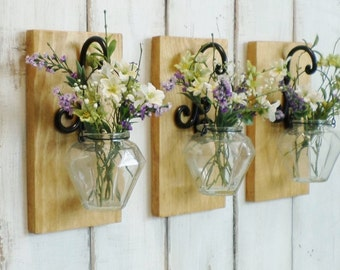 New...Rustic Farmhouse Wall Decor..Individual Hanging Hexagon Glass Jars..Your choice of Stain