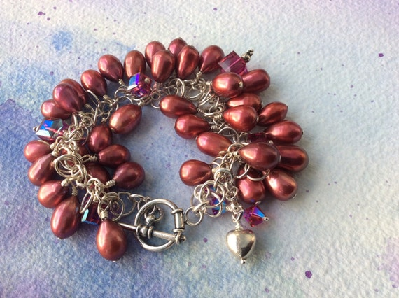 REDUCED FREE SHIPPING Clustered Red Pearl Sterling Silver Bracelet