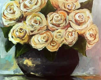 Yellow Roses - Original Painting by Cari Humphry