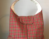 Large Insulated Lunch Bag - Red Plaid