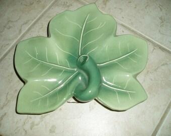 Vintage Large Green Leaf Wall Pocket