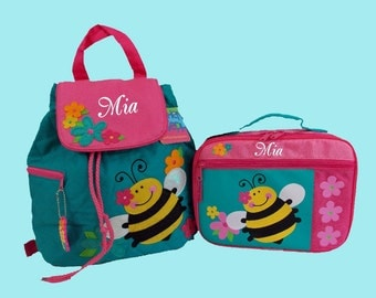 Child's Personalized Stephen Joseph BEE Backpack and Lunchbox School Set-Monogramming Included