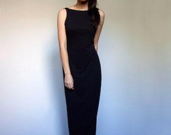 90s Black Dress Deep V Knot Back Slinky Sleeveless Maxi Evening Cocktail Party Dress Women - Small S